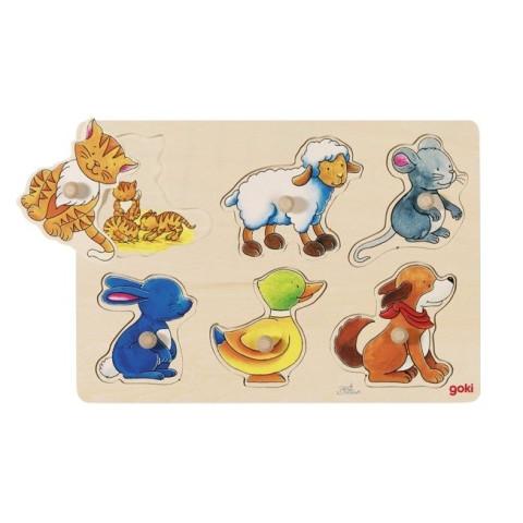 Puzzle d'encastrement : animaux et petits en bois goki