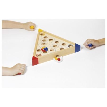 Tricours, jeu cooperatif d'habileté en bois goki