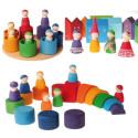 7 amis et leur nid, figurines jouet en boisl de Grimms