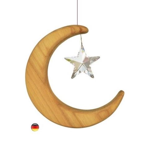 Mobile Lune Cristal et bois noble sternengasse
