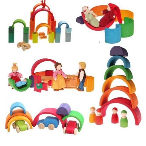 Arc en ciel moyen 6 pieces jouet en bois Grimm's