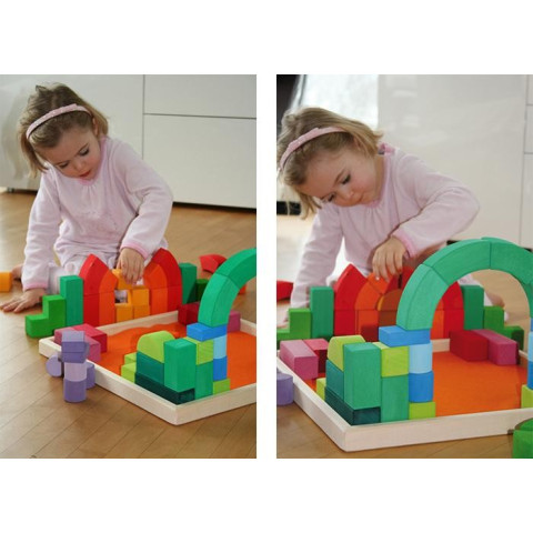Construction romane, grand jeu romanesque waldorf montessori Grimm's