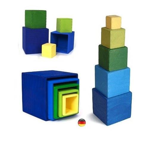 Petits Cubes, boites gigognes en bois, bleu Grimm's