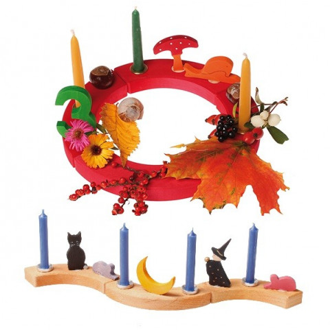 Couronne d'anniversaire arc en ciel, cercle en  bois Grimm's