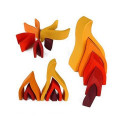 Feu, flamme jouet d'eveil en bois, decoration de table de saison waldorf steiner, Grimms