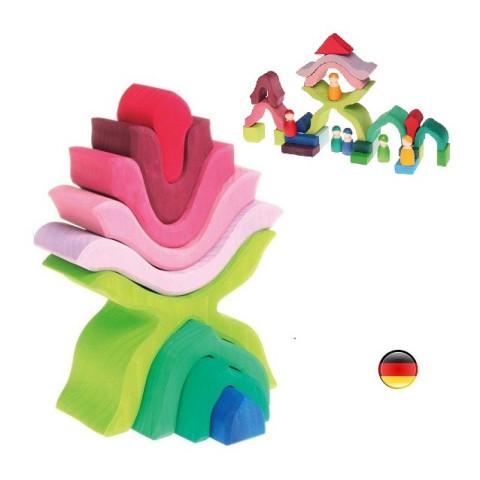 Fleur à empiler, pour encastrer et construire, jouet  en bois, Grimm's