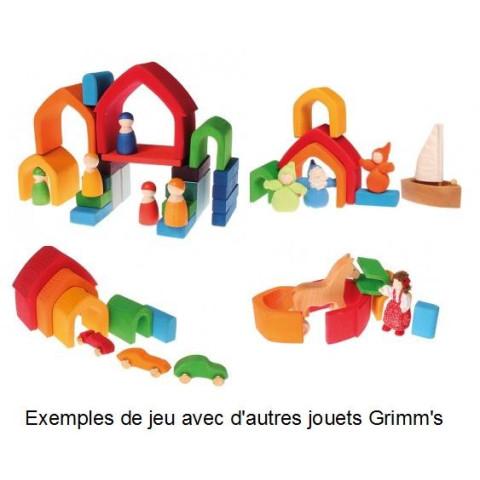 Maison à empiler arc en ciel, jouet en bois Grimm's