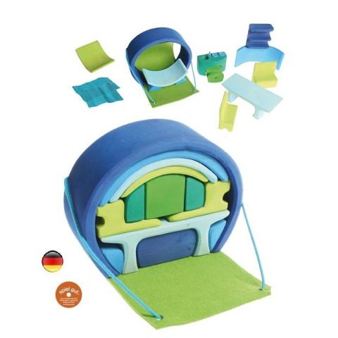 Maison de poupée mobile, transportable bleue en bois de Grimm's