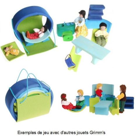 Maison de poupée mobile, bleue en bois waldorf steiner de Grimm's