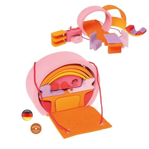 Maison de poupée mobile, transportable en bois rose de Grimm's