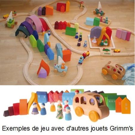 petites Maisons colorées, jeu waldorf steiner en bois Grimm's