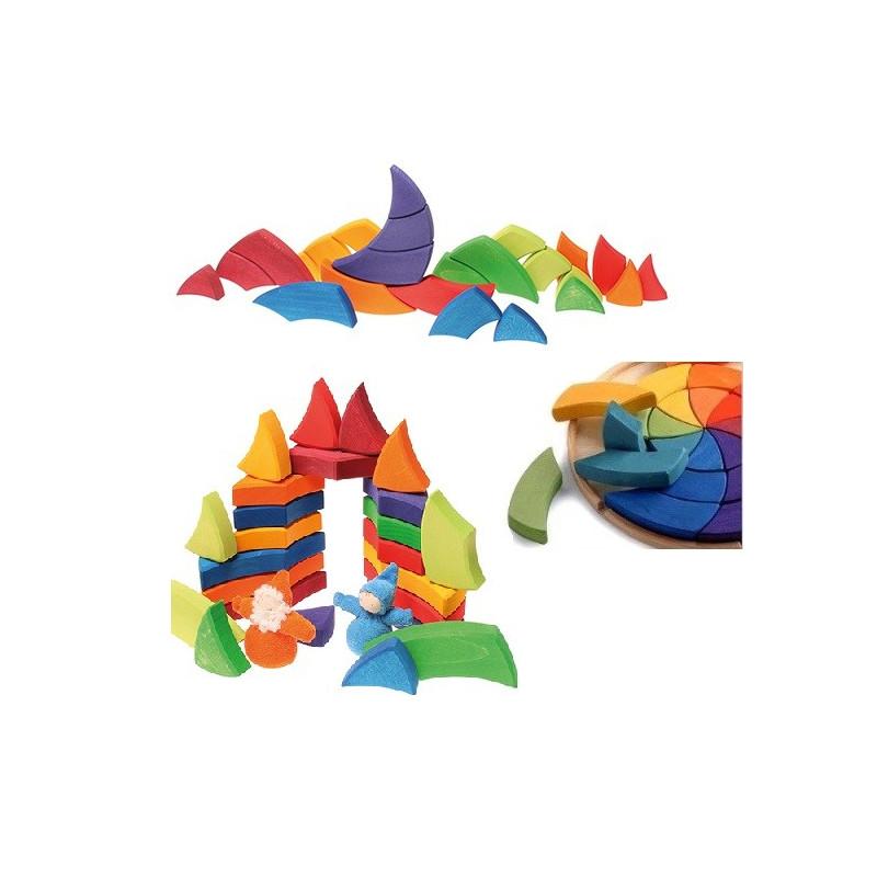 Puzzle cercle des couleurs de Goethe, mandala géant 3D waldorf en bois, Grimm's