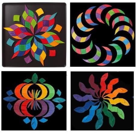 Puzzle magnétique Spirale  couleurs mandala waldorf steiner en bois, Grimm's