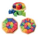Puzzle octogone  3D, mandala waldorf steiner  en bois Grimm's
