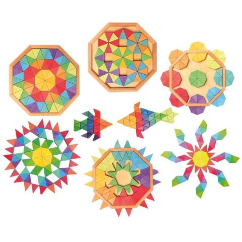 Puzzle octogone 72 pieces, triangles mosaïque, mandala  en bois, Grimm's