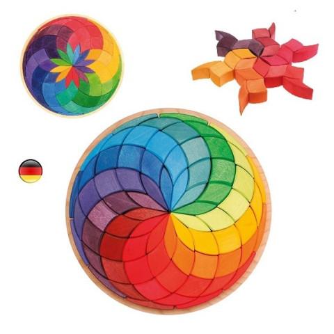 Puzzle Spirale colorée, mandala géant 3D en bois arc en ciel, Grimm's