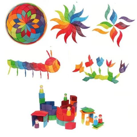 Puzzle Spirale colorée, mandala géant 3D en bois arc en ciel waldorf steiner montessori, Grimm's