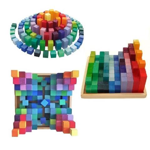 Pyramide de cubes, jeu de construction waldorf steiner et montessori en bois, Grimm's