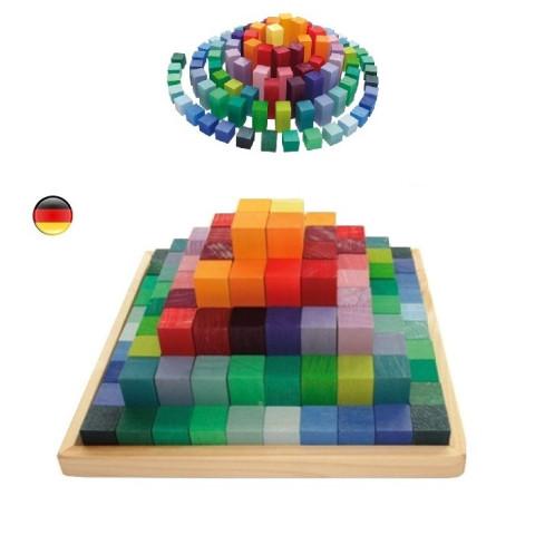 Pyramide de cubes, jeu de construction en bois, Grimm's