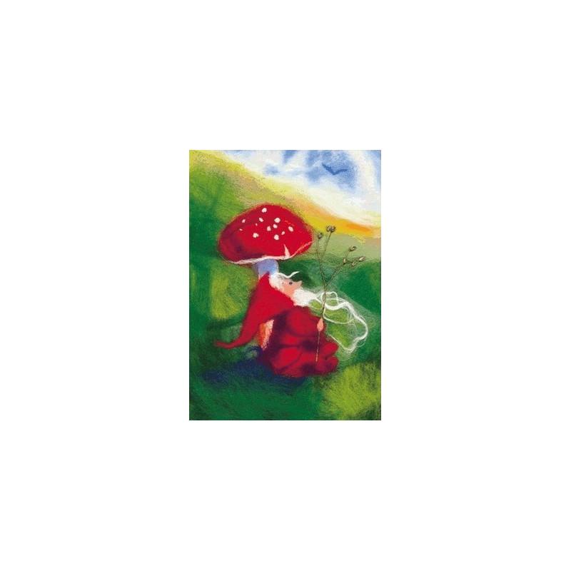 Carte Champignon et lutin, tableau de laine imagin editions