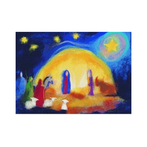 Carte Noel : la crèche, tableau de laine