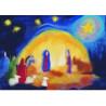 Carte postale Noel :la crèche, tableau de laine imagin editions