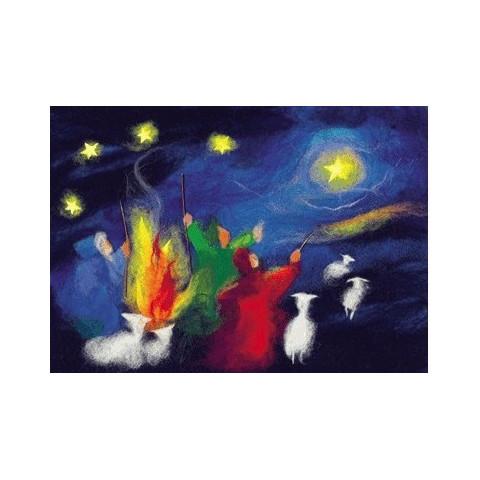 Carte Noel : les bergers, tableau de laine