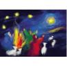 Carte Noel : les bergers, tableau de laine imagin editions