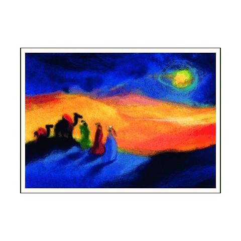 Carte Noel : les rois, tableau de laine