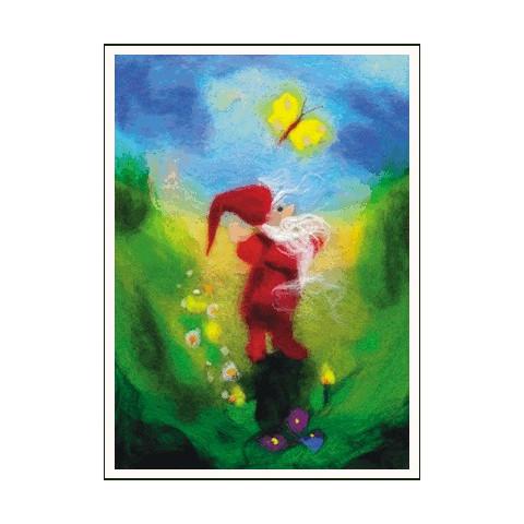 Carte Papillon et lutin, tableau de laine
