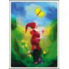 Carte postale Papillon et lutin, tableau de laine imagin editions