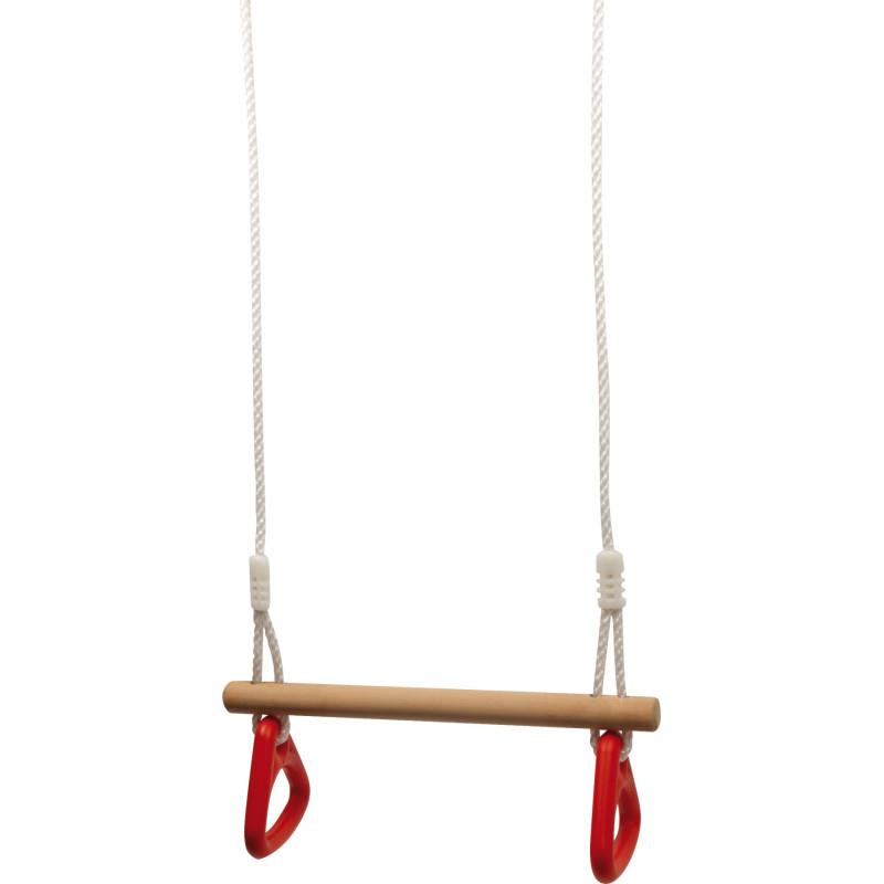 Balançoire avec anneaux et trapèze, 2 en 1, jouet en bois de legler