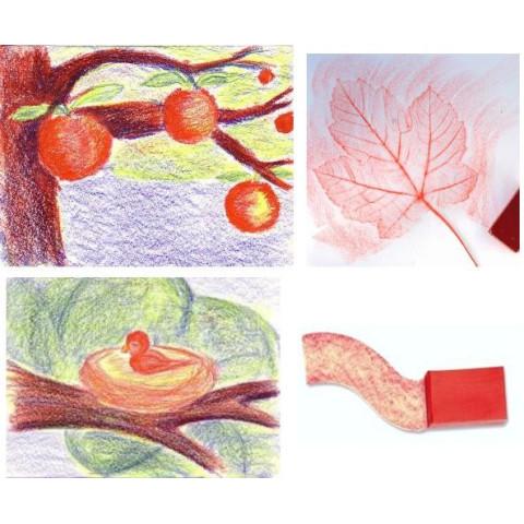 Boite en bois de 24 blocs, crayons de cire d'abeille,pour dessin et coloriage waldorf steiner Stockmar