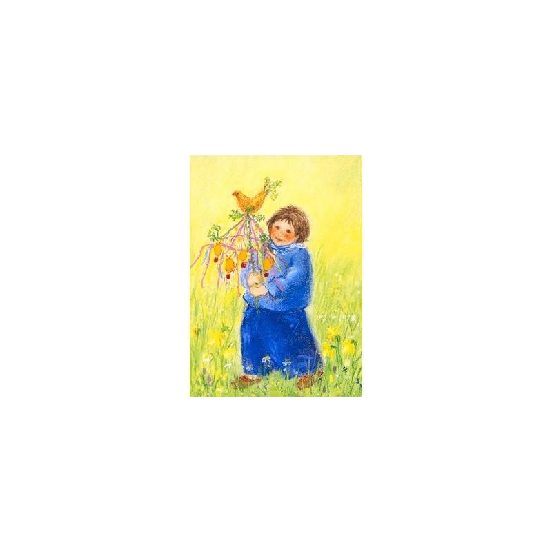 Carte Arbre de Pâques, de marjan van Zeyl, pour enfant steiner waldorf