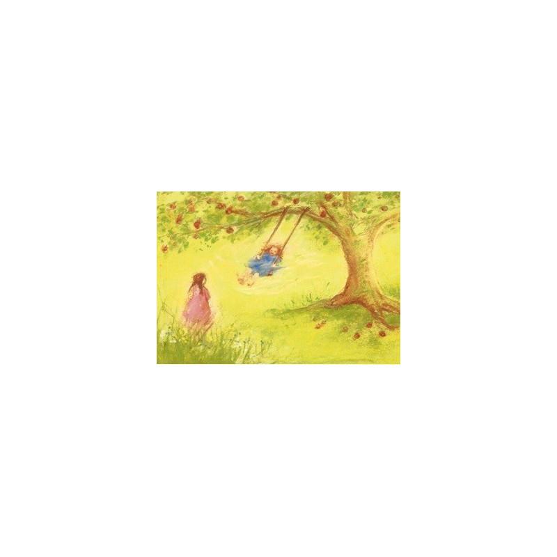 Carte postale Balancoire, Marjan van zeyl, pour enfant steiner waldorf
