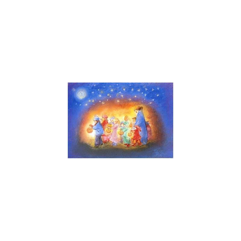 Carte postale lanternes de saint martin , de marjan van zeyl, pour enfants steiner waldorf