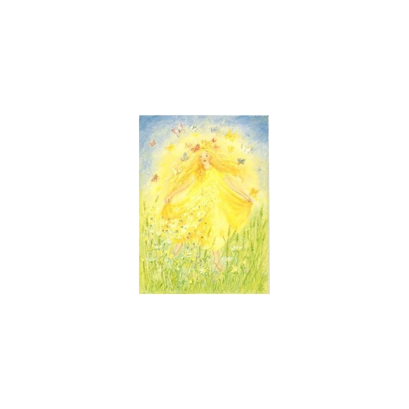 Carte postale fée  Joie du printemps de marjan van zeyl pour enfant steiner waldorf