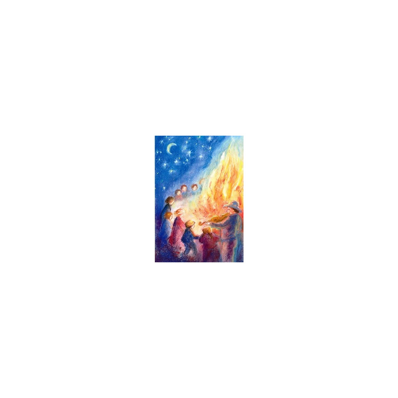 Carte postale feu de la Saint Jean,  Marjan van zeyl, pour enfant steiner waldorf