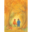 Carte Forêt d'automne  de marjan van zeyl, pour enfant steiner waldorf