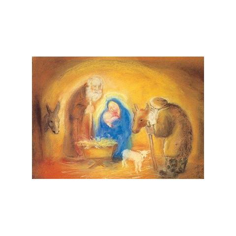Carte  Noël Sainte famille  de marjan van zeyl, pour enfant steiner waldorf