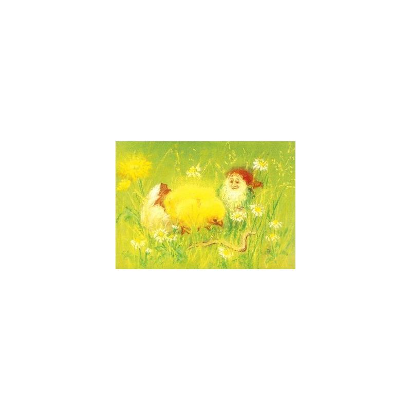 Carte Poussin et lutin de marjan van zeyl, pour enfant steiner waldorf