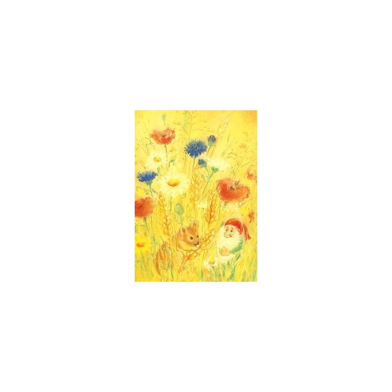 Carte Souris et lutin dans les blés de marjan van zeyl, pour enfant steiner waldorf