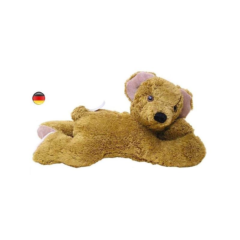 Peluche ours musical brun couché, doudou boite à musique en coton bio Kallisto