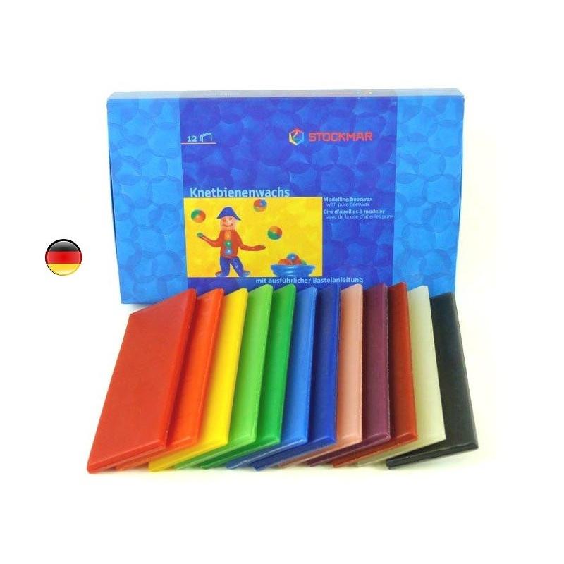Cire à modeler, pate à modeler 12 couleurs de Stockmar
