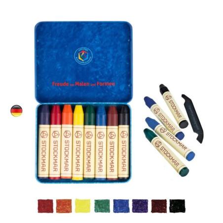 Crayons de cire, boite de 8 avec noir, Stockmar