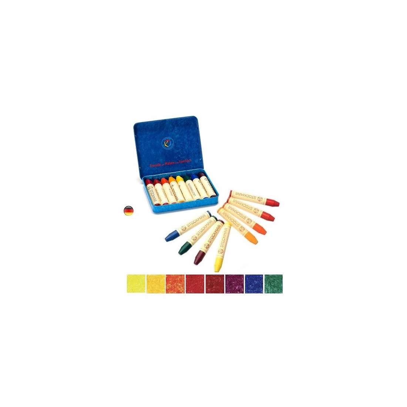 Crayons de cire d'abeille, boite de 8 craies waldorf steiner , Stockmar