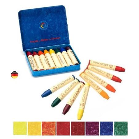 Crayons de cire, boite de 8 waldorf, Stockmar