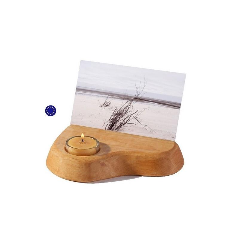 Porte carte, support photo en bois avec bougie, waldorf steiner