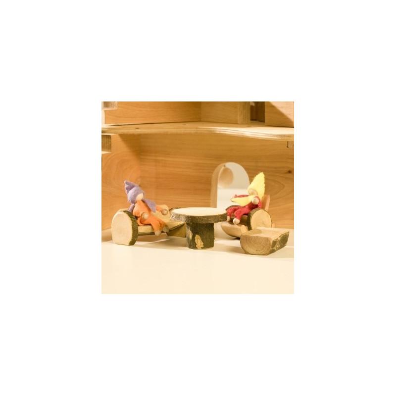 Meubles pour maison des  lutins : le salon, jouet en bois steiner waldorf de magic wood