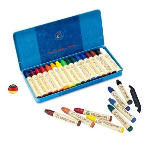 Crayons de cire d'abeille, boite de 16 craies, Stockmar